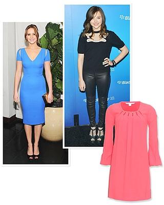 Klasična plava haljina sa V-izrazom