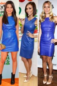 Plava kožna haljina