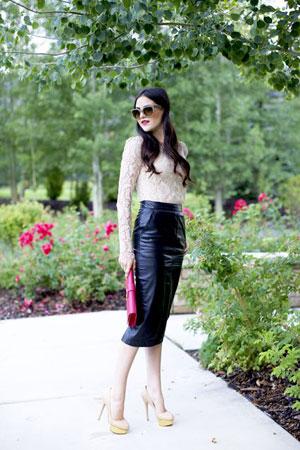 Čipka i kožna suknja