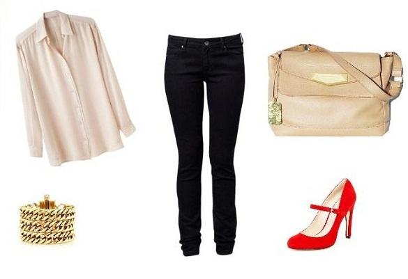 Crvene cipele i tamni džins