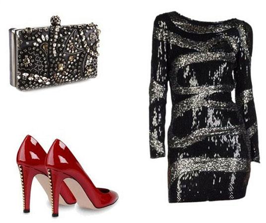 Crvene cipele u kombinaciji za žurku