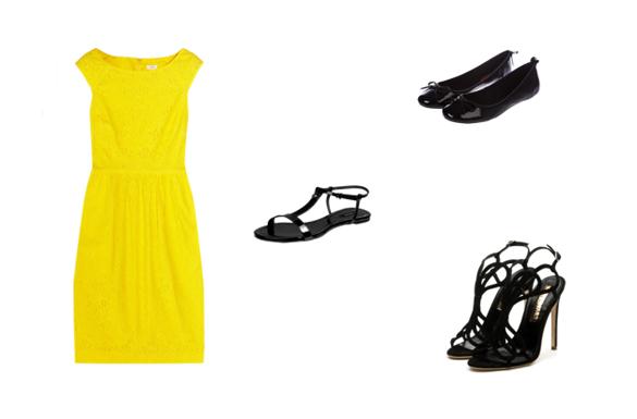 Crne cipele uz zutu haljinu