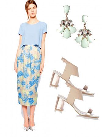 Midi suknja sa cvetnim printom