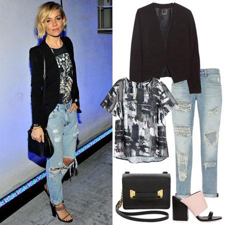 modna kombinacija  Sienna Miller