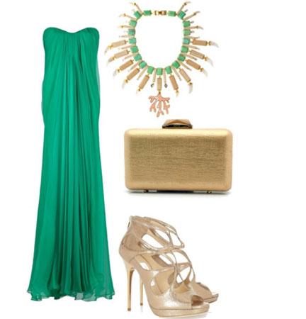 svecana kombinacija sa zelenom haljinom