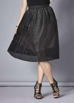 crna rupicasta midi suknja