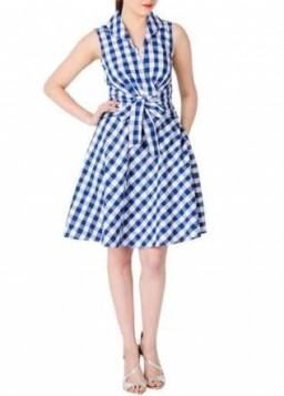 plava karirana haljina
