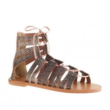 metalik ravne gladijator sandale do clanka