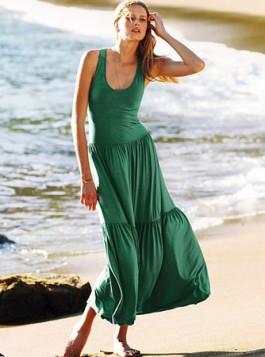 tamno zelena maksi haljina