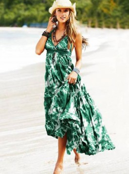 maksi haljina sa zelenim printom