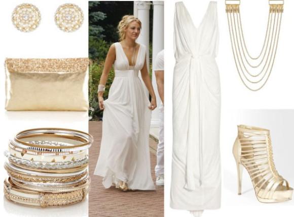 bela haljina i zlatni modni detalji
