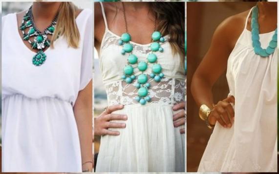 bela haljina i tirkizne ogrlice