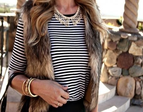 krzneni prsluk prugasta bluza i kragna ogrlica