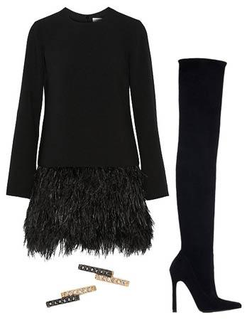 mala crna haljina sa perjem