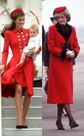 crveni kaput Lady Diana vs Kate Middleton