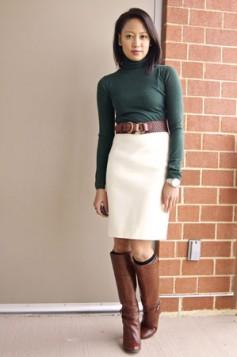 bela suknja i zelena rolka