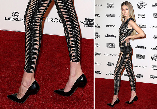 Gigi Hadid crne cipele sa providnom stiklom