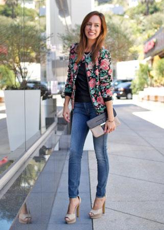 bomber jakna sa cvetnim printom