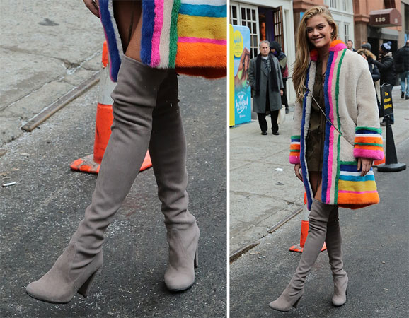 Nina Agdal sive cizme iznad kolena