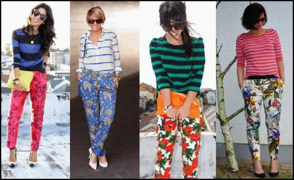 prugaste bluze i pantalone sa cvetnim printom