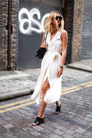 midi bela haljina na preklop