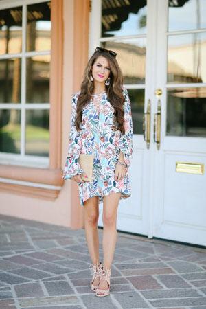 lace up haljina sa printom