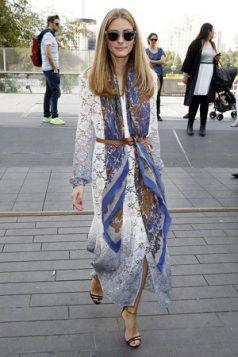 Olivia Palermo cipkana haljina marama i neobicno vezan kais
