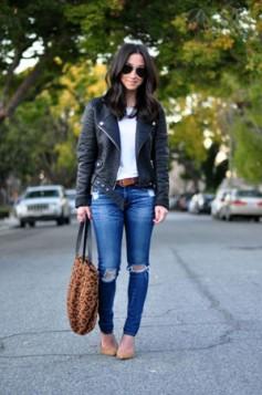 bela bluza farmerice kozna jakna i bez cipele