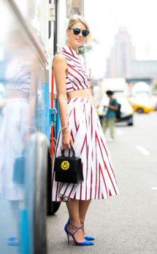 komplet prugasta suknja i crop top