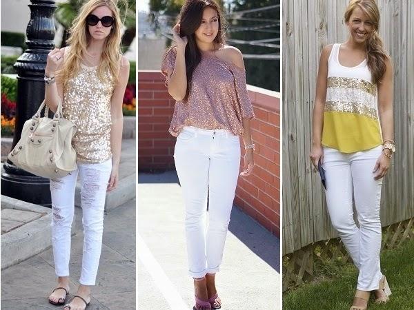 bele farmerice i sljastece bluze