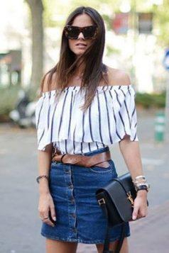 bluza sa spustenim ramenima i teksas suknja