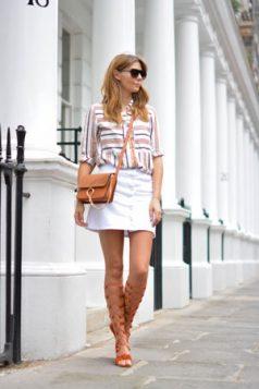 gladijator sandale i bela mini suknja