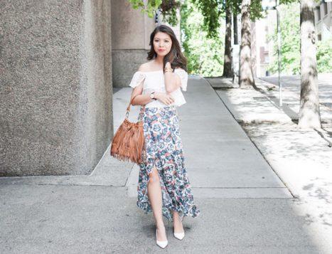 bluza spustenih ramena i maksi suknja