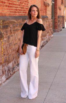bluza spustenih ramena i sire pantalone