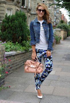 teksas jakna uz pantalone sa printom