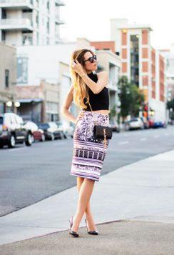 rolka bluza i suknja sa printom