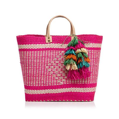 pletena roze torba sa resama