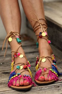 plave festivalske sandale
