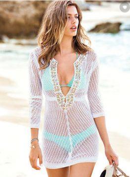 bela heklana haljina