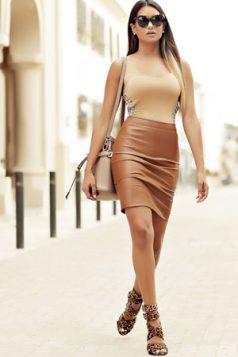braon kozna suknja