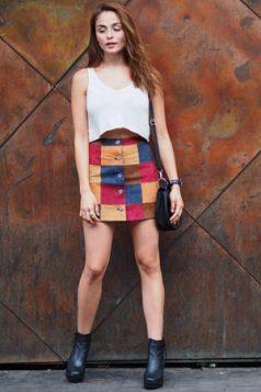 patchwork plisana suknja i crop top