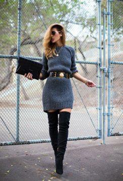 dzemper haljina cizme iznad kolena i upadljivi kais