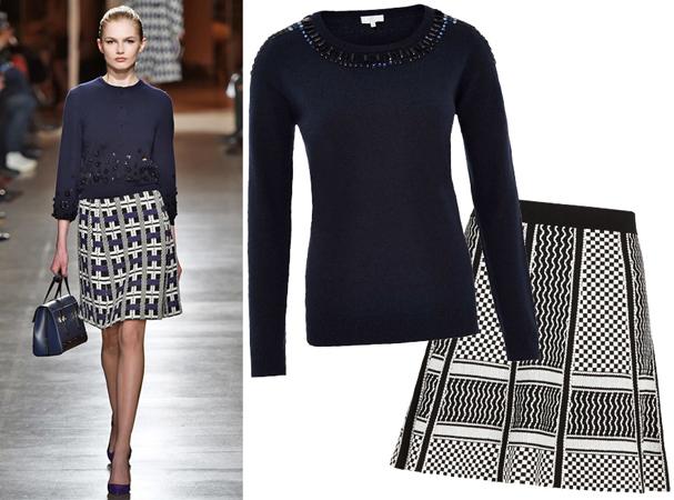 Džemper sa detaljima i suknja sa grafičkim printom
