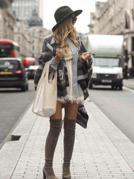 bela mini haljina cizme iznad kolena kosulja i ponco