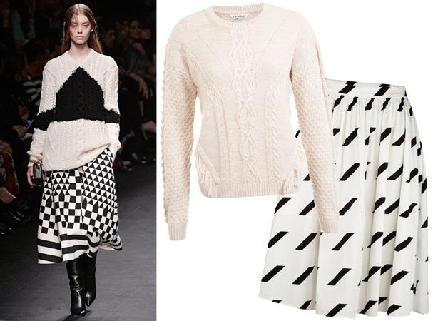 Pleteni džemper i duža suknja sa grafičkim printom