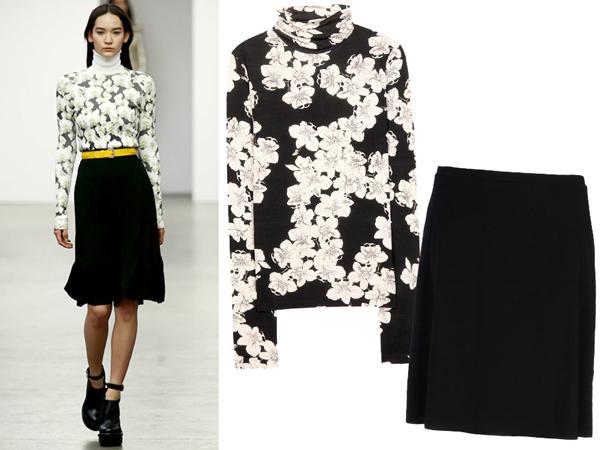 Rolka sa cvetnim printom i crna suknja