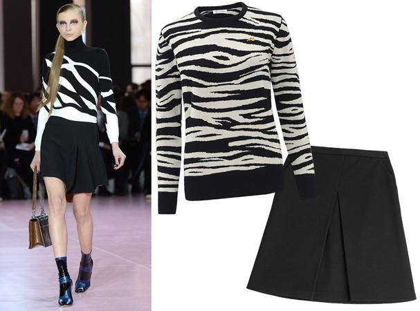 Džemper sa crno belim printom i crna mini suknja
