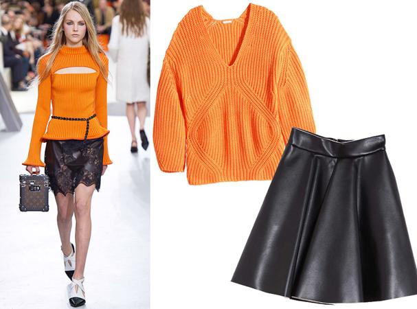 Pleteni džemper u svetlijoj boji i kožna mini suknja