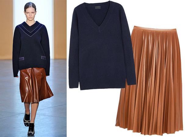 Džemper sa V- izrezom i kožna midi suknja