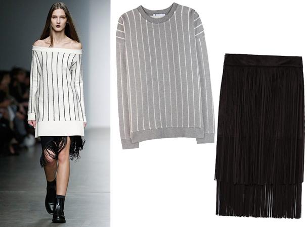 Džemper sa uspravnim prugama i suknja sa resama